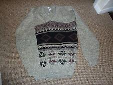 lovely black+brown medium knitted vintage jumper size M