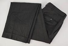 LkNew $750 ISAIA NAPOLI Black Striped Wool Flat Front Pants Trousers 32x32