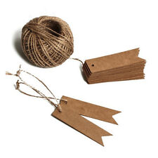 100PCSKraft Paper Tags String Vintage Price Tags with100 Feet Natural Jute Twine