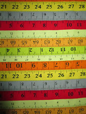 MEASURING TAPES SEWING ITEMS YELLOW ORANGE RED COTTON FABRIC FQ