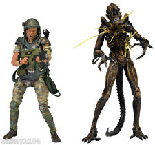 "PRIVATE WILLIAM HUDSON VS XENOMORPH WARRIOR 2PK ALIENS 7"" FIGURES TWIN PACK NECA"