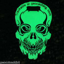 - Ripper Bones Geocoin BN Green Glow in the Dark Skull  trackable unactivated