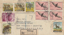 Stamps Angola 1954 various animal types on registered cover to Australia , nice