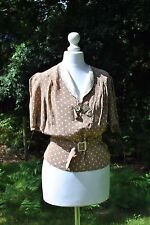 Original 1930s brown and cream beige polka dot spot blouse with matching plastic