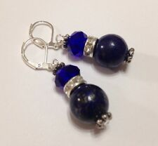 Lapis Lazuli Earrings Sapphire Blue Semi-Precious Gemstone Czech Glass Beads New