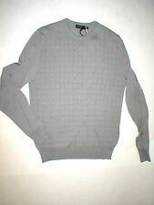 New Mens M NWT Calvin Klein Collection Merino Wool Sweater Gray Italy Squares
