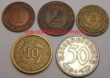 Germany Third Reich Set 5 coins 1 2 5 10 50 pfennig 1924-1936 (mixed dates)
