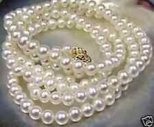 "Beautiful!7-8mm White Akoya Cultured Pearl Necklace 25""HU6//6500"