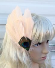 pink coral fascinator millinery peacock feather hair clip wedding piece ascot