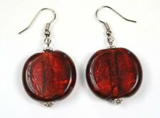 DARK RED garnet CHUNKY FOIL GLASS murano EARRINGS match