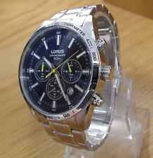 Mens S/Steel Seiko Lorus Midnight Blue Chronograph Sports Watch in Box VD53