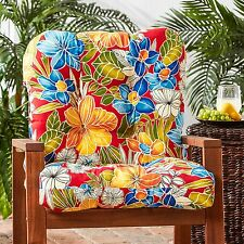 Patio Chair Cushion Set Of 4 Tropical Floral Plush Deep Seat Furniture Aloha Red