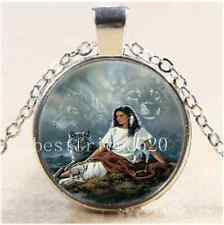 native American Woman with Wolf Cabochon Glass Tibet Silver Chain Necklace