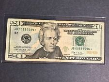 $20 Dollars Bill - Star Note, # JB00887594* Federal Reserve Note, Series 2009