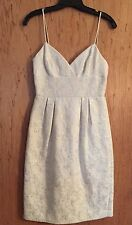 BCBG MaxAzria Brocade White Silver Dress Size 2