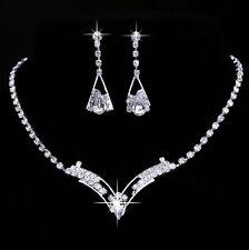 Strass SET TRASPARENTE BIANCO elegante Collier Orecchini Sposa Costume argento