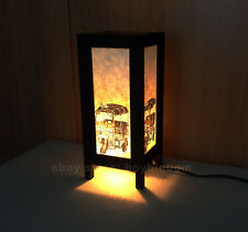 Lantern Lamp Asian Oriental Art Paper Table Desk Thailand Three Wheel Tuk Tuk