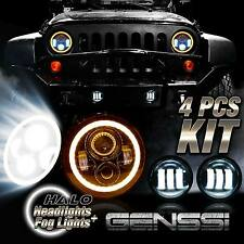 LED Halo Headlights & LED Fog Light DRL Combo Kit For Jeep Wrangler JK 2007-2016