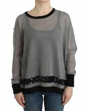 NWT $350 C'N'C COSTUME NATIONAL Embellished Gray Knitted Sweater Jumper S/US6