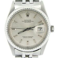 Rolex Datejust Stainless Steel Watch Silver Dial Folded Link Jubilee Band 1603