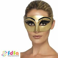 GOLD EVIL CLEOPATRA WITH EYELASHES EYE MASK BALL - womens ladies fancy dress