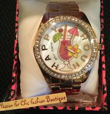 NWT BETSEY JOHNSON HAPPY HOUR PAVE/ROSE-GOLD TONE BRACELET WATCH-BJ00249-30-$95