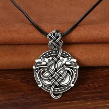 Antique Silver Viking Double Dragon Pendant Necklace