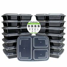 Bento Lunch Box Food Prep Containers 15 Piece With Lids 3 Section Meal In A Box