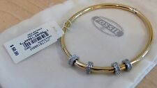 Fossil JF01761998M Gold Tone Starter Charm Bracelet With Spacers Bangle NWT