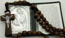 MRT St Saint Joseph Gift Set Prayer Folder Car Visor Metal Plaque & Wood Rosary