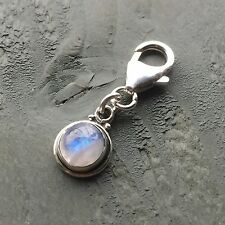 Small 925 Sterling Silver Rainbow Moonstone Clip On Charm BALANCE sacral Chakra