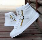 Uomo Scarpe Alte Lacci Up Ginnastica Sneakers Pelle Sport Casual Zipper Shoes
