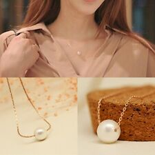 Fashion Womens Single Pearls Pendant Bib Choker Statement Collar Chain Necklace
