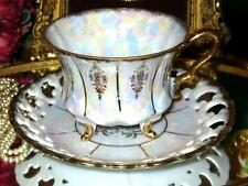ROYAL SEALY China 3 FOOTED IRIDESCENT & GOLD TEA CUP AND SAUCER MOTHER OF PEARL