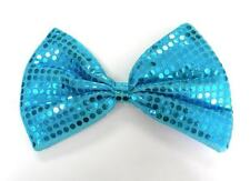 Blue Clown Joker Jumbo Large Glitter Sparkly Sequin Fancy Dress Costume Bow Tie