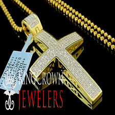 Real Genuine Diamond Jesus Cross Pendant Chain In 10K Yellow Gold Finish 2.25''