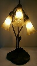 Vintage Tiffany Style Lily pad Gooseneck Art Deco Table Lamp 3 Light Tulip Shade