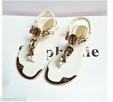 THONG RHINESTONE SANDALS FLAT WOMEN ANKLE STRAP WHITE GOLD SIZE 2 3 4 5 6 7 8 UK