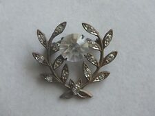 Vintage Edwardian Paste Brooch Pin Laurel Leaves Peace WW1 Possibly