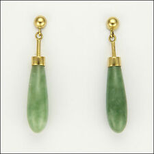 14 Carat Gold & Jade Drop Earrings - Pierced Ears