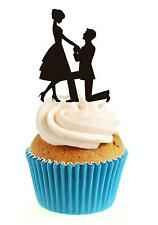 Novelty Engagement Romance Silhouette 12 Edible Stand Up wafer paper cake topper