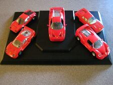 Lot of Five (5) Ferrari (ALL RED) Die Cast Cars on Display Base SUPER GIFT IDEA?