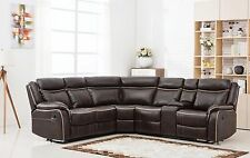 Classic Large Bonded Leather Reclining Corner Sectional Sofa - Brown
