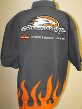 Harley-Davidson Men's Small Screamin Eagle SS Button Down Shirt w/ flames NWT