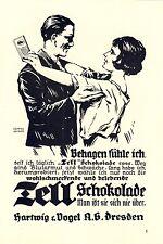 Tell Schokolade Dresden Hartwig & Vogel Liebespaar Paar 16x25cm Reklame von 1925