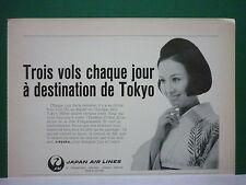 4/1972 PUB COMPAGNIE AERIENNE JAL JAPAN AIR LINES JAPON TOKYO ORIGINAL FRENCH AD