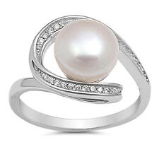 USA Seller Pearl Loop Ring Sterling Silver 925 Best Deal CZ Jewelry Size 10