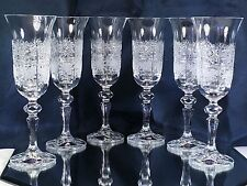Crystal Glass Set of 6 Wine Champagne Flute European  Vintage  Cut 5 oz  Bohemia