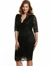 "MARCEL"" STUNNING LADIES PLUS SIZE 16-18 BLACK LACE FITTED EVENING COCKTAIL DRESS"