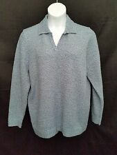 CAROLYN TAYLOR BLUE/BLACK MARBLE LONG SLEEVE V-NECK COLLARED SWEATER SZ 2X #R814